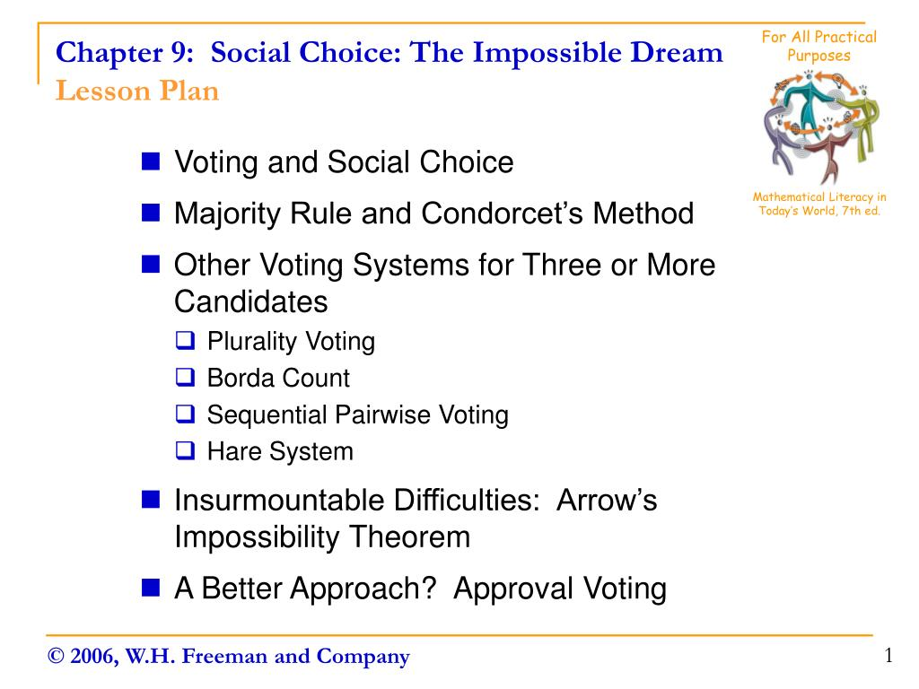 chapter 9 social choice the impossible dream lesson plan l.
