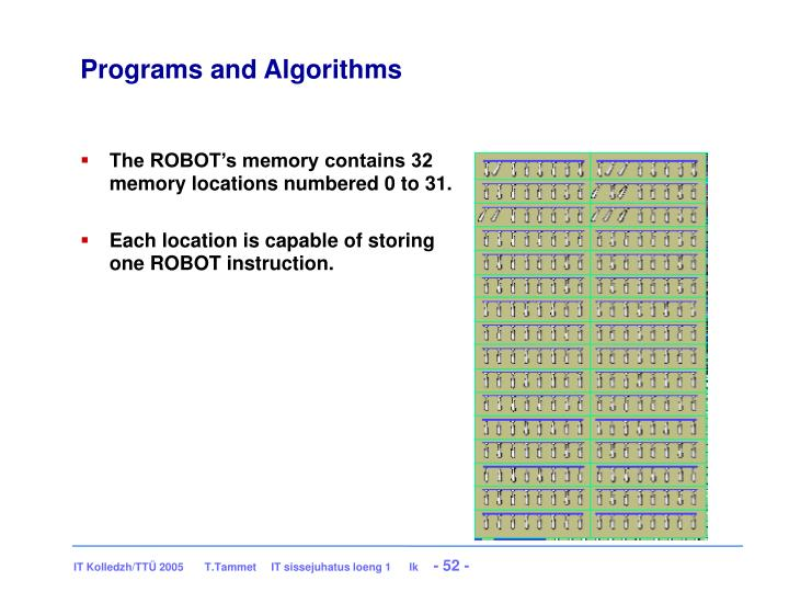 Programs and Algorithms