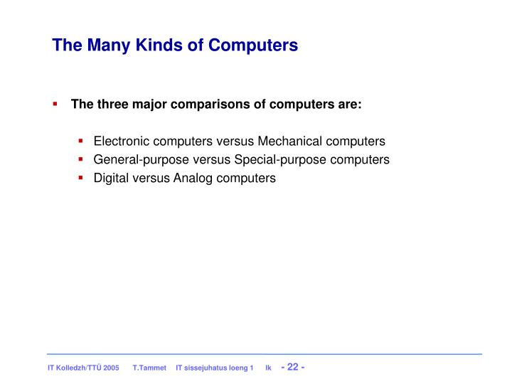 The Many Kinds of Computers