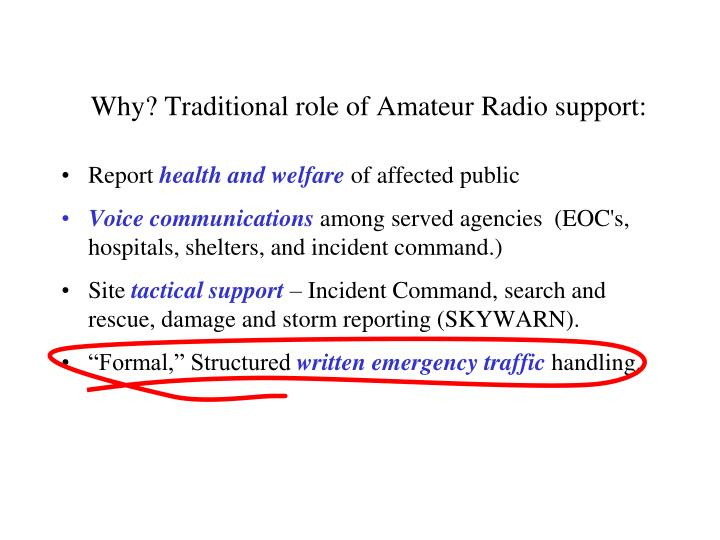 Why? Traditional role of Amateur Radio support: