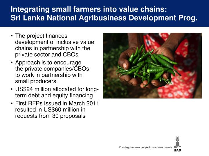 Integrating small farmers into value chains: