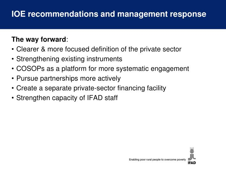 IOE recommendations and management response