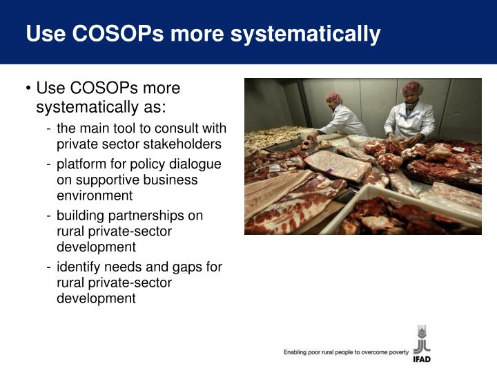 Use COSOPs more systematically