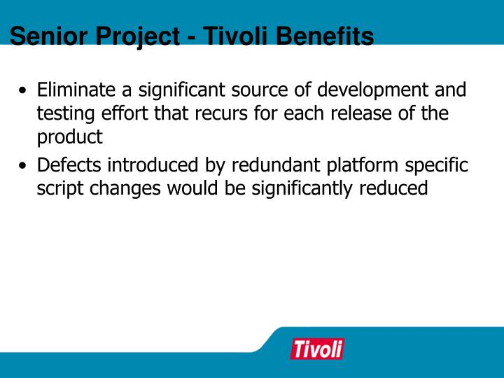 Senior Project - Tivoli Benefits