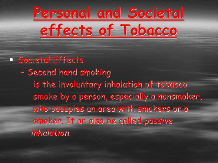 Personal and Societal effects of Tobacco