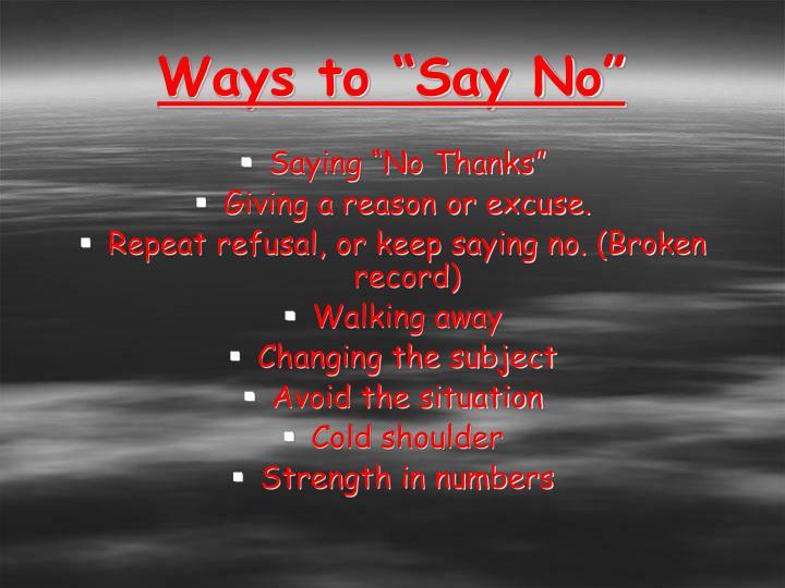 "Ways to ""Say No"""