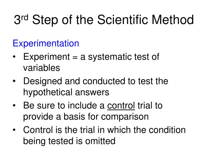what is the third step to the scientific method