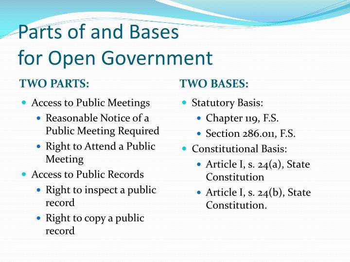 Parts of and bases for open government