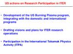 us actions on research participation in iter