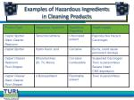 examples of hazardous ingredients in cleaning products