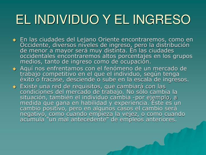 EL INDIVIDUO Y EL INGRESO