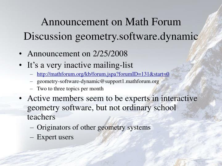 Announcement on math forum discussion geometry software dynamic