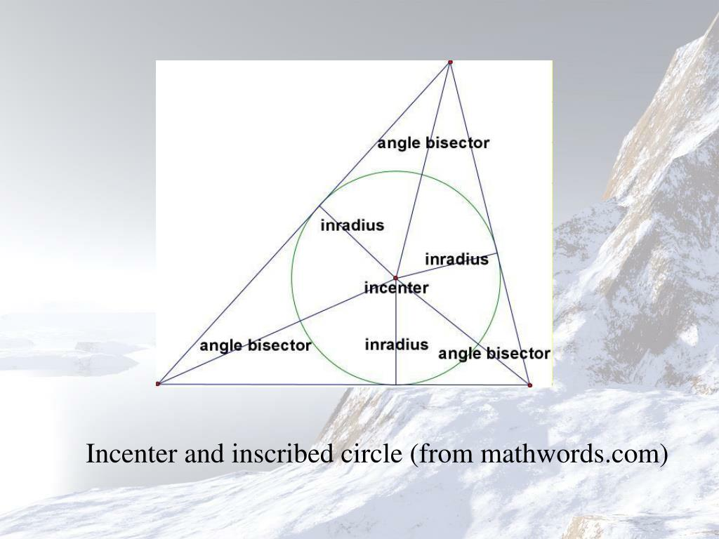 Incenter and inscribed circle (from mathwords.com)