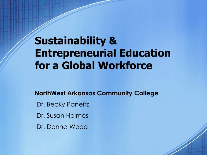 sustainability entrepreneurial education for a global workforce n.