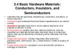 3 4 basic hardware materials conductors insulators and semiconductors
