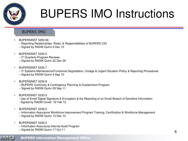 BUPERS IMO Instructions