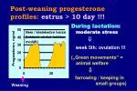 post weaning progesterone profiles estrus 10 day39
