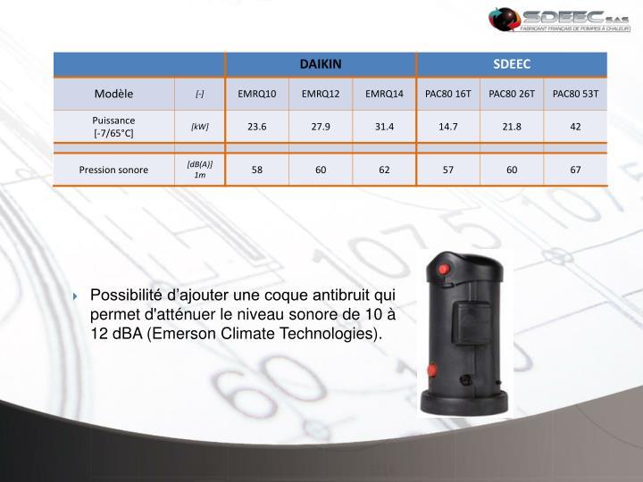 Possibilité d'ajouter une coque antibruit qui permet d'atténuer le niveau sonore de 10 à 12