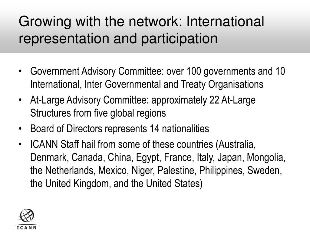 Growing with the network: International representation and participation