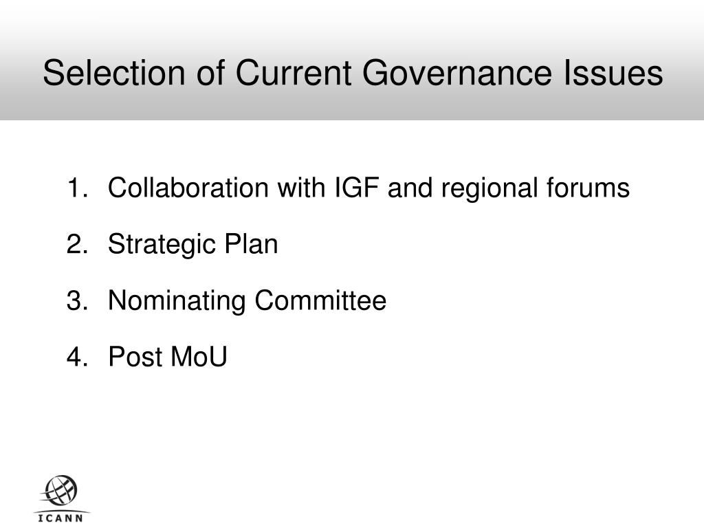 Selection of Current Governance Issues