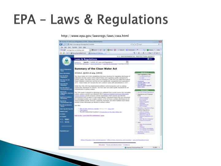 EPA – Laws & Regulations