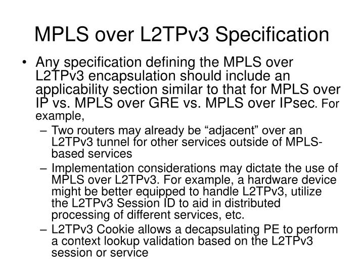 MPLS over L2TPv3 Specification