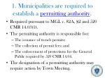 1 municipalities are required to establish a permitting authority