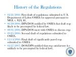 history of the regulations