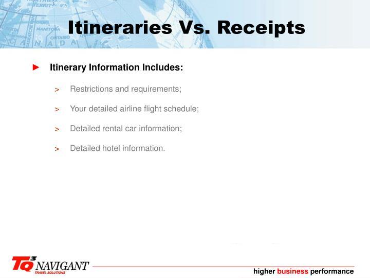 Itineraries Vs. Receipts
