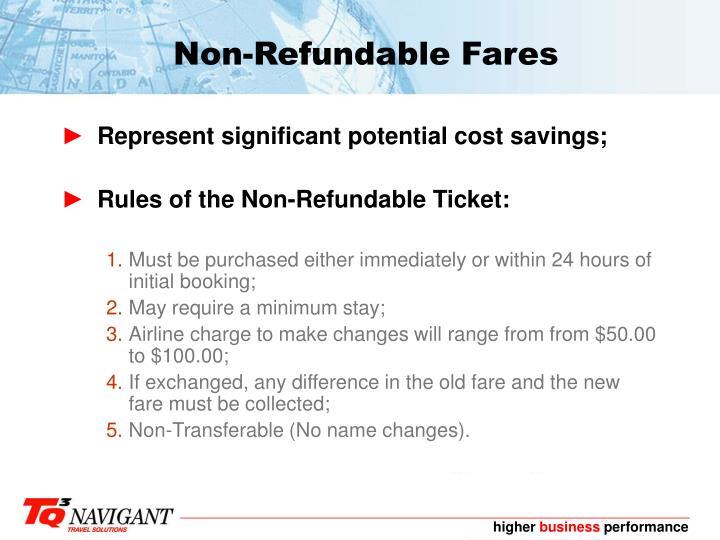 Non-Refundable Fares