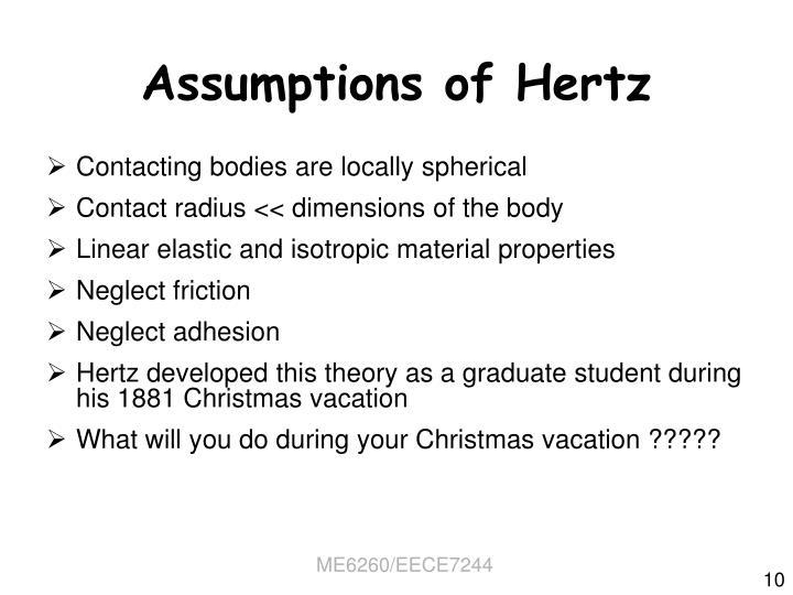 Assumptions of Hertz