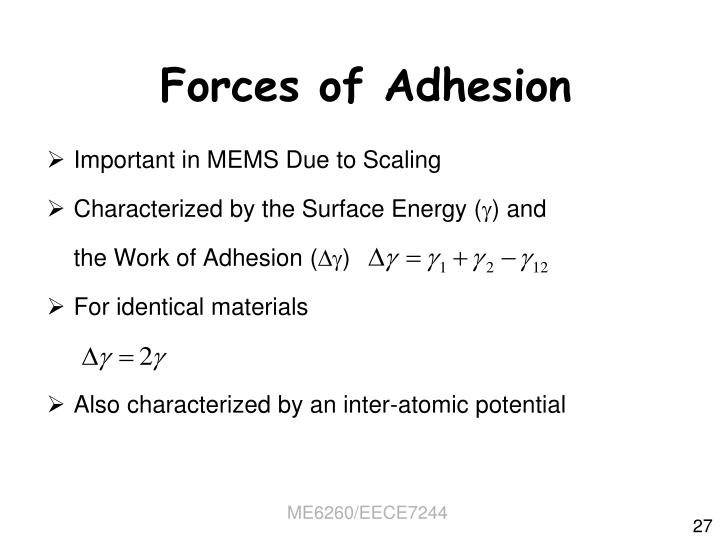 Forces of Adhesion