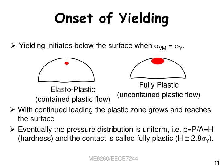 Onset of Yielding