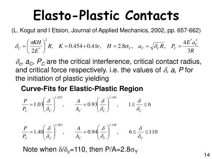Elasto-Plastic Contacts