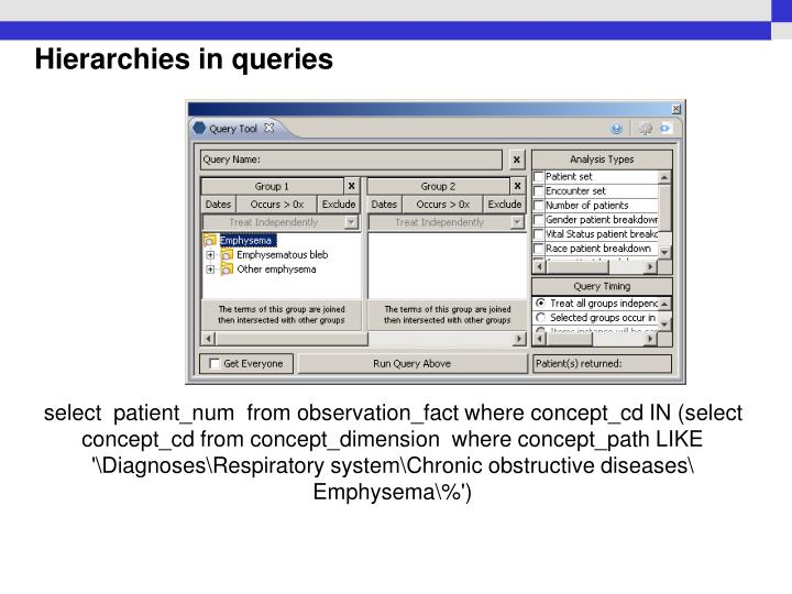 Hierarchies in queries