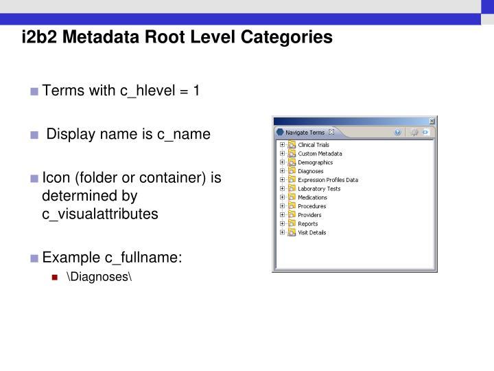 i2b2 Metadata Root Level Categories