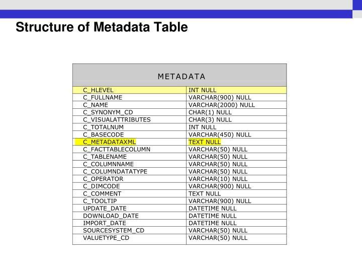 Structure of Metadata Table
