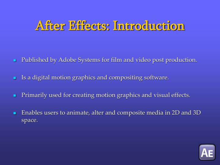 After effects introduction