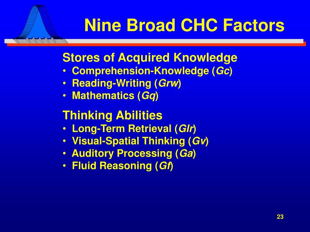 Nine Broad CHC Factors