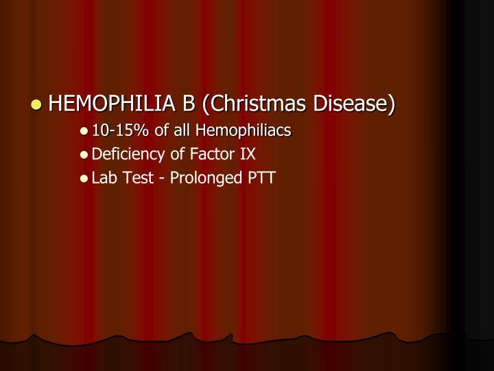 HEMOPHILIA B (Christmas Disease)