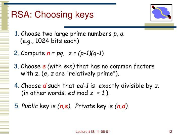 RSA: Choosing keys