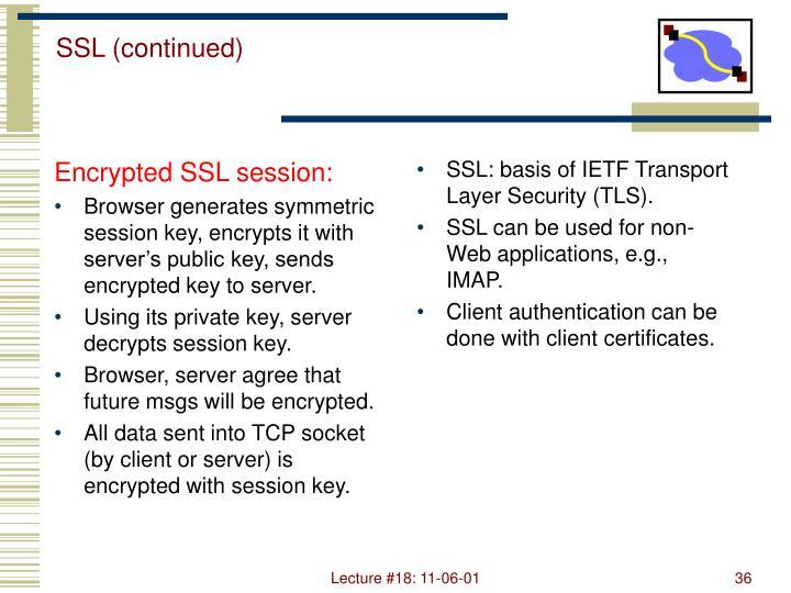 Encrypted SSL session: