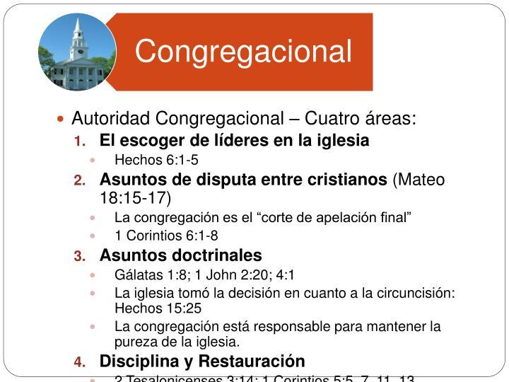 Autoridad Congregacional – Cuatro áreas: