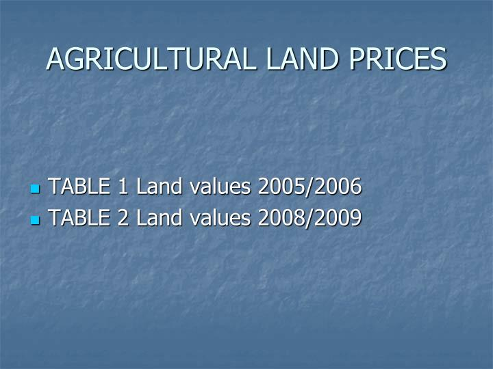 agricultural land prices n.