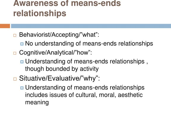 Awareness of means-ends relationships