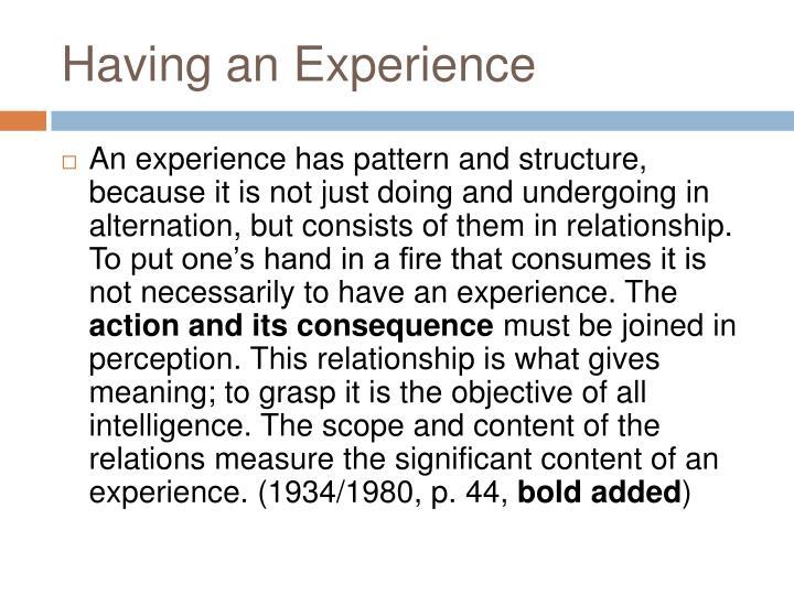 Having an Experience