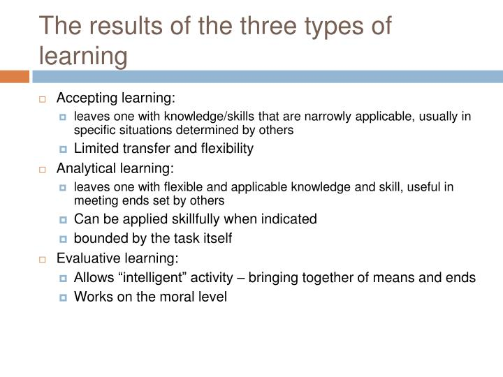 The results of the three types of learning