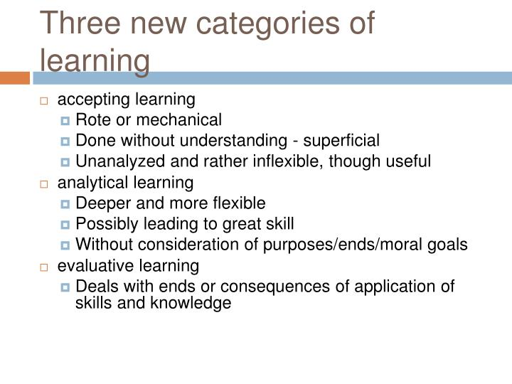 Three new categories of learning