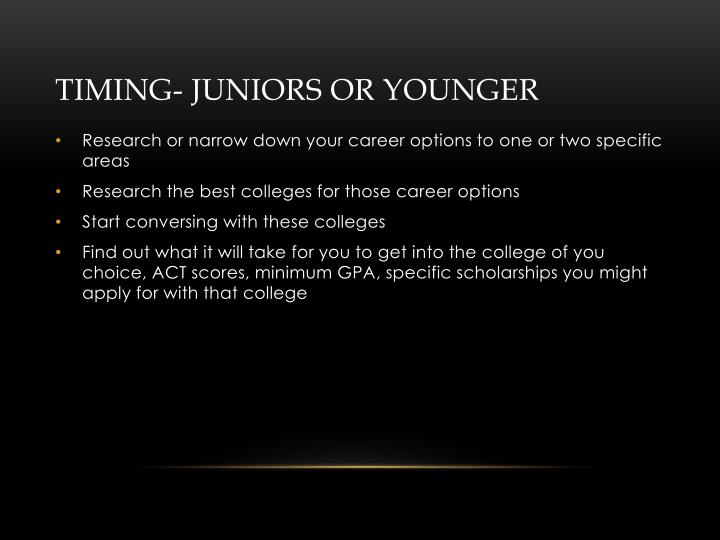 Timing- Juniors or Younger