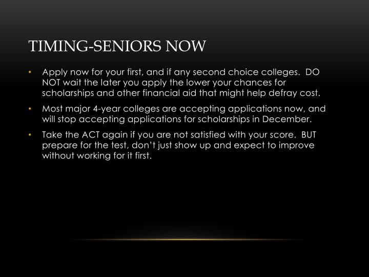 Timing-Seniors NOW